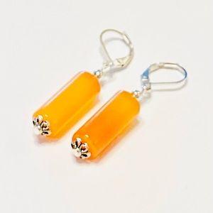 BEAUTIFUL Cylindrical Orange Bright Onyx Earrings
